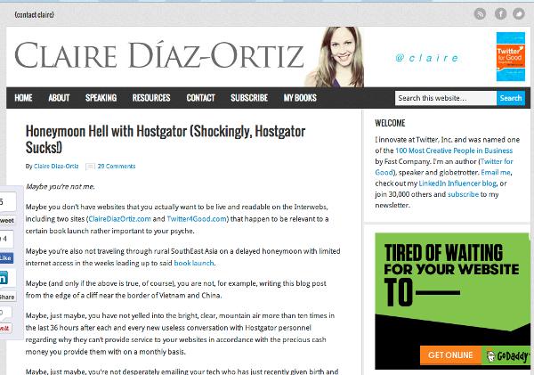 Claire Diaz-Ortiz Left Hostgator