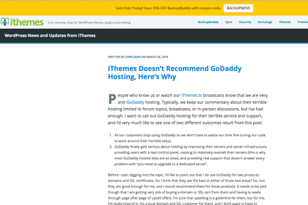 GoDaddy iThemes Post