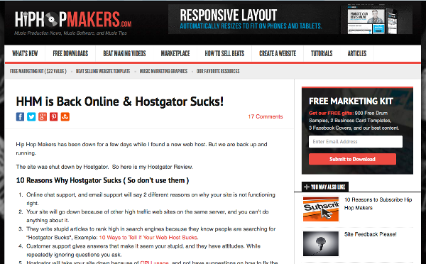 HipHopMakers.com Hostgator Article
