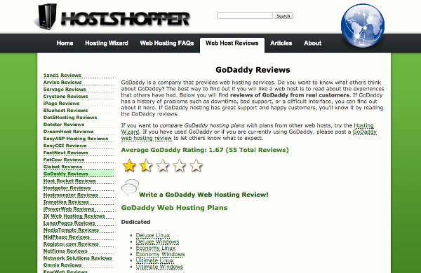 Host-Shopper.com GoDaddy Review