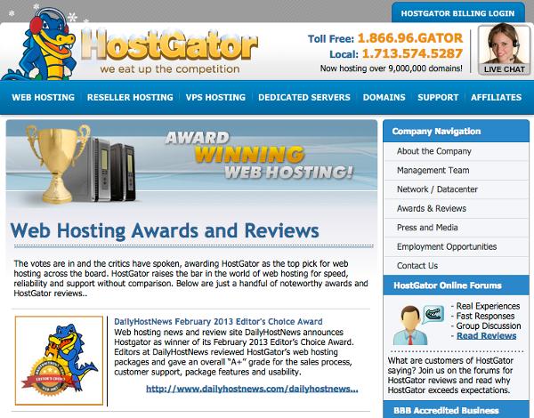 Hostgator Awards
