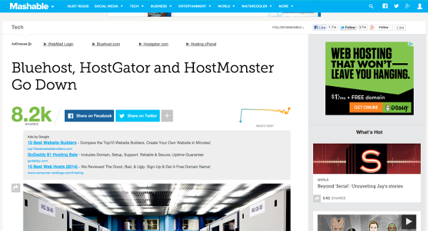 Mashable Reports Downtime With Hostgator