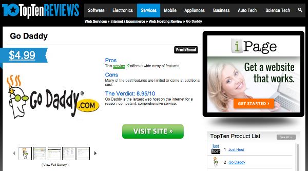 TopTenReviws.com GoDaddy Review