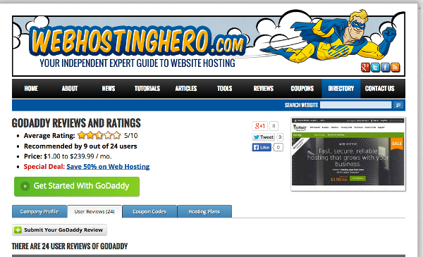 WebHostingHero.com GoDaddy Review