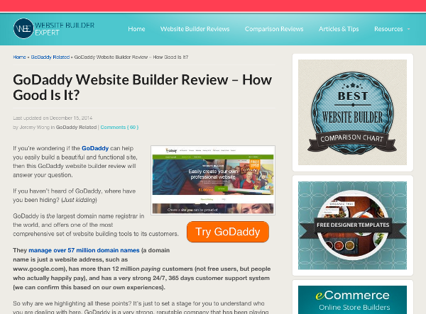 Websitebuilderexpert.com GoDaddy Article