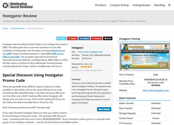 WebHostingSecretRevealed.net HostGator review