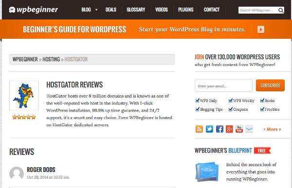 Wpbeginner.com Hostgator Review