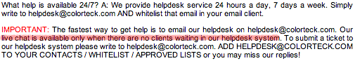 ColorTeck Customer Support