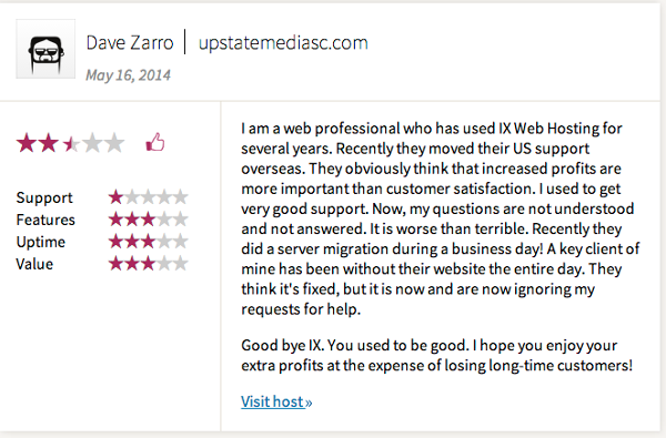IX WebHosting Customer Support Comment