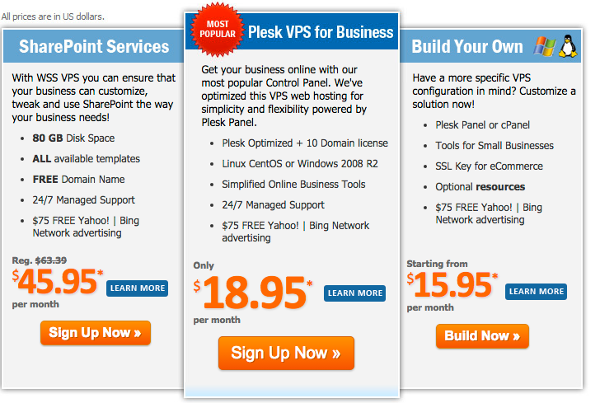 MyHosting Business Plans
