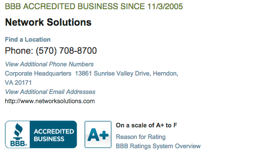 Network Solutions BBB