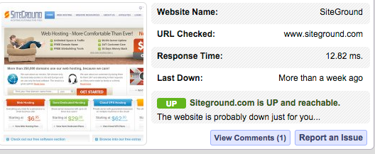 Siteground Response Time