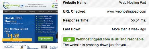 WebHostingPad Response Time