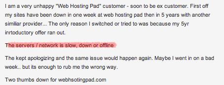 WebHostingPad Uptime