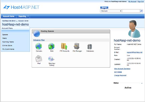 Host4Asp.net Control Panel